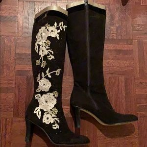 Coke Haan brown suede embroidered boots